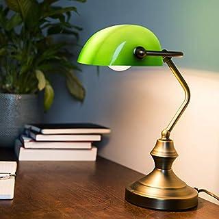 Qazqa Lampe de table | Lampe à poser Classique Rétro - Banker Lampe Bronze Vert - E27 - Convient pour LED - 1 x 60 Watt | ...
