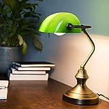 QAZQA Clásico/Antiguo Lámpara de notario clásica bronce verde -BANKER Vidrio/Acero Alargada/Redonda Adecuado para LED Max. 1 x 60 Watt