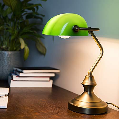 QAZQA - Klassisch | Antik Klassische Tischleuchte | Tischlampe | Lampe | Leuchte NOTAR Bronze mit grünem Glas - Banker | Wohnzimmer | Bankerleuchte - Stahl Länglich | Rund - LED geeignet E27