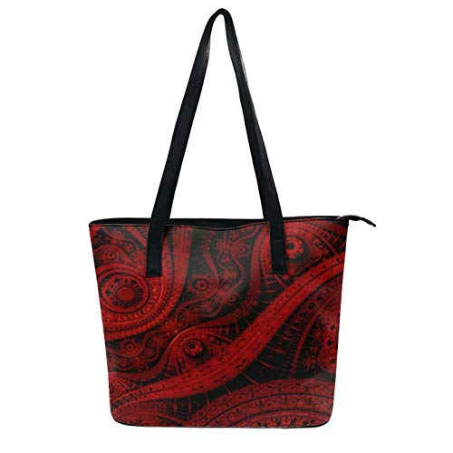 NiYoung Women Girls Classic Work Travel Shopping Carrying Shoulder Handbag Durable Zipper Tote Bag, Water Resistant Large Capacity Anti-Theft Handbag (Black and Red Abstract Paisley)