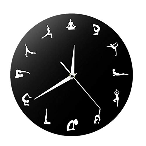 Junchuang - Reloj de pared para yoga, diseño moderno y silencioso, sin tictac, para sala de estar o dormitorio, Cuarzo., 3#, 30 cm