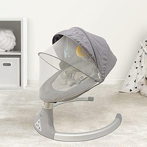 Cuna eléctrica para recién nacido, mando a distancia inteligente de Bluetooth, interfaz USB, silla giratoria cómoda con música relajante y juguete de baldaquino