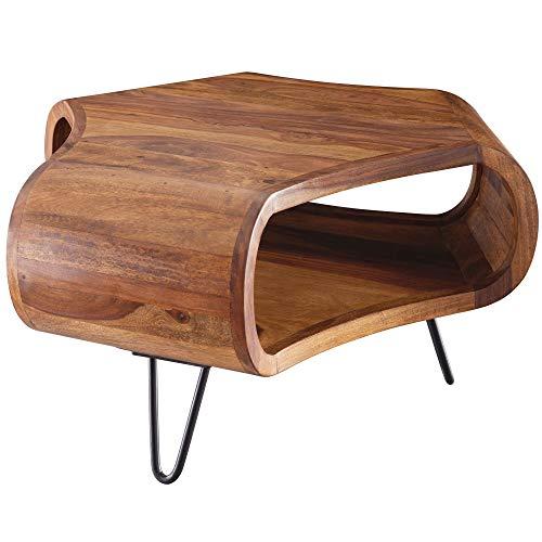 FineBuy Couchtisch FB51410 Sheesham massiv Holz 55 x 55 x 38 cm Ablage & Metallgestell | Retro Wohnzimmertisch Massivholz braun | Sofatisch modern Holztisch | Tisch mit Fach Wohnzimmer