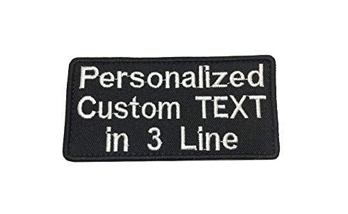 3 Line Lettering Custom Personalized Label Tactical Name Badge Hook Fastener Backing Iron On Patch (Iron-On)