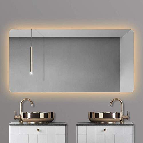 H.aetn Espejos de tocador rectangulares, Espejo de baño LED, Espejo de luz de Pared con Espejo antivaho + a Prueba de explosiones, 6 tamaños, Blanco/cálido