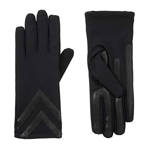 isotoner Womens Spandex Touchscreen Cold Weather Gloves with Warm Fleece Lining and Chevron Details