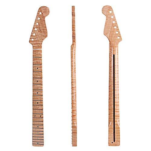 YUSDP E-Gitarrenhals DIY, 21 Fret Maple Griffbrett, Tiger Silk Texture Paint - Mittellinien-Design für E-Gitarrenteile ersetzen, für Gibson Les Paul LP