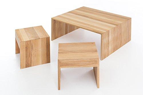 Woodlive Massivholz Couchtisch rechteckig aus Kernbuche, geölter Wohnzimmer-Tisch, Beistelltisch inkl. Hocker, Tisch 90 x 75 cm