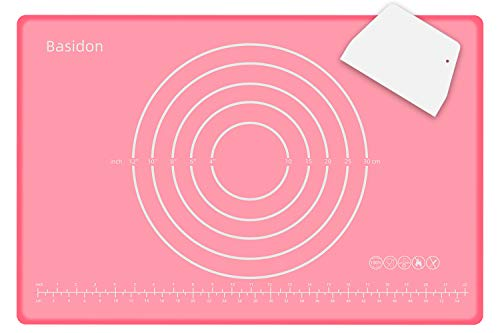 Baking Mat Non Slip Non Stick BPA Free Silicone Pastry Mat for Rolling Dough,Kneading Dough Mat with Scraper