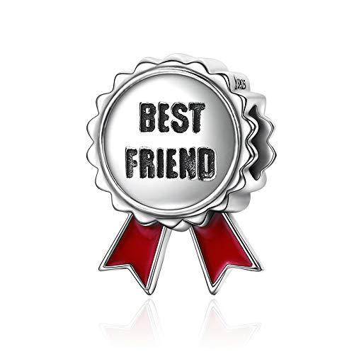 Beste vriend Populaire Echte 925 Sterling zilveren Vriendschap Stempel Beste Vriend Bloem Gift Kralen fit Charm Armbanden Sieraden
