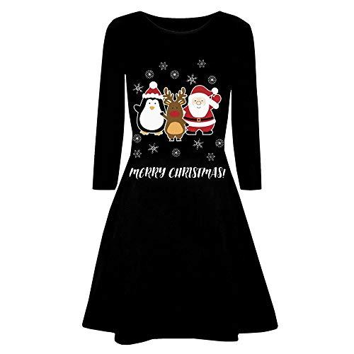 VEMOW 2018 Elegante Damen Abendkleid Weihnachtsfeier Cocktailkleid Kleid Gedruckt Langarm Abend Abschlussball Kostüm Täglichen Schaukel Kleid(X3-Schwarz 6, 44 DE / 2XL CN)