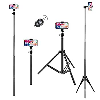SKUDY Extendable Tripod Stand&Selfie Stick 2 in 1 dismountable,Ultra Long Selfie Stick,Extends to 69  Tripod Stand with Wireless Bluetooth Remote for Cell Phones,360° Rotation and Lightweight