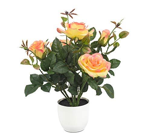 artfleur - künstliche gelbe Rose im Topf 30cm Blühpflanze Kunstpflanze Topfpflanze