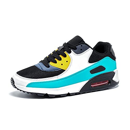 Zapatillas de Deportivas Mujer Zapatos para Correr Hombre Calzado Deportivo Sneakers Caminar Tenis Zapatillas de Running Fitness Malla Verde EU43
