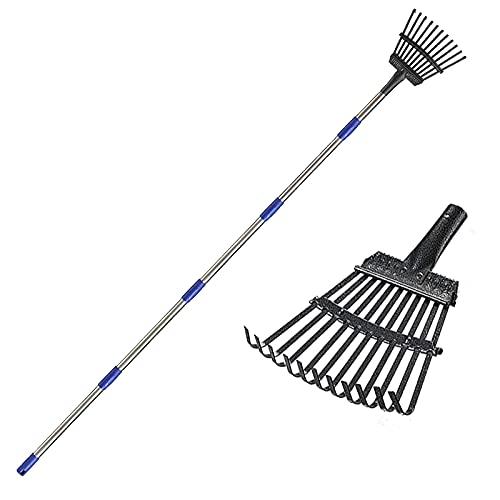 MIYA Leaf Rake 72 inch, Length Adjustable 9 Inch Wide 11 Claws Head Leaf Debris Rake, Leaf Removal Metal Rake for Yard Lawn and Garden