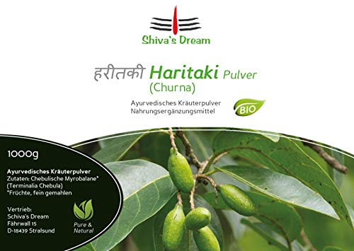 Haritaki Pulver fein vermahlen | 1000g | 1Kg | BIO | geprüfte Qualität aus Indien | Shiva's Dream | alle 3 Doshas im Gleichgewicht