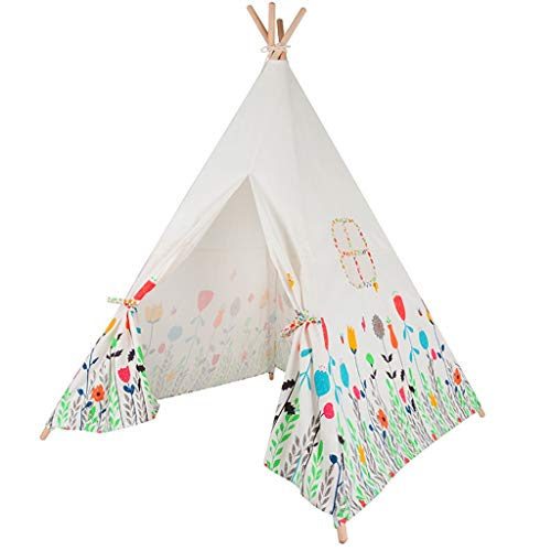 CSQ White Indian Tent with Floral Patterns, Play Tent for Picnic in the Park, on the Lawn Photography Props Children's Sleeping Tent Children's play house (Size : 120 * 120 * 130CM)