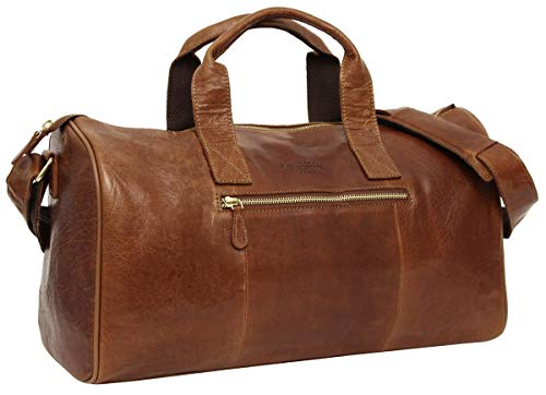 Gusti Travel Bag Leather -'Hall' Sports Bag Weekender Hand Luggage Men Ladies Brown
