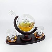 set di decanter per whisky - 1050 ml - con piedistallo più lungo - supporto in legno scuro - con imbuto - 2 bicchieri - caraffa artigianale per whisky al rum - ideale come regalo per papà