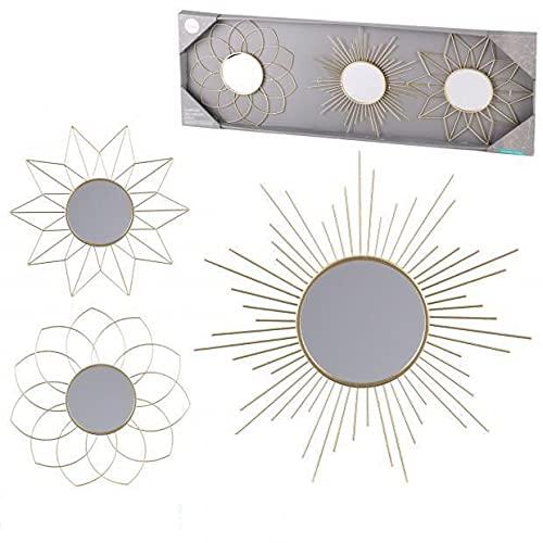 TIENDA EURASIA® Espejos Decorativos de Pared - Pack 3 Espejos de Pared Dorados Surtidos - Estilo Nordico - 25 cm