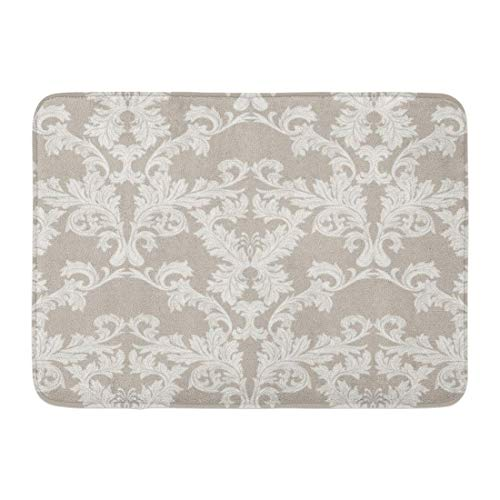 NCH UWDF Fußmatten Bad Teppiche Fußmatte Antik Barock Vintage Floral Damastmuster Luxus Klassische Royal Victorian für Taupe Farbe Botanik 15,8