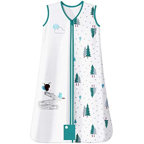 Baby Schlafsack für Kleinkinder Unisex Ganzjährig 1.0 Tog Baumwolle Ärmellos Weich Atmungsaktiv Lichtecht Reißverschluss mit Schutz MUBYTREE (6-18 Monate)
