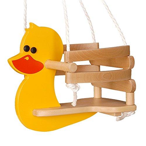 WICKEY babyschommel eend babyzitje houten schommel peuterschommel, 42x30x35cm (LxBxH), hout