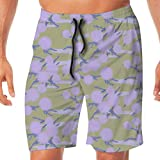 Photo de Newman Bryce100000 Lilac Puffballs on Pale Gold Mens Swim Trunks Quick Dry Funny Shorts Swimwear Bathing Suits