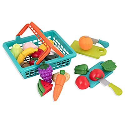 Battat – Farmers Market Basket – Toy Kitchen Accessories – Pretend Cutting Play Food Set for Toddlers 3 Years + (37-Pcs) by Branford LTD