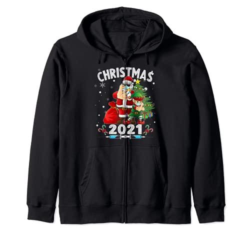 Santa y Elfo - Nueva Navidad Sudadera con Capucha