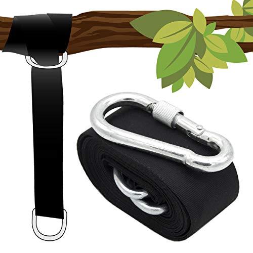 AMANKA Ophangset voor Hangmat - Riemen 300x5cm - 150kg Bevestigung - Boom Ophanging Zwart