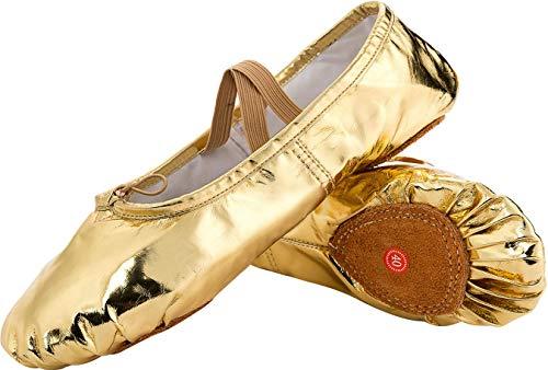 L-RUN Mädchen Frauen Split-Sole Tanz Flach Elastische Ballettschuhe Leinwand Yoga Hausschuhe,Leder Gold,31 EU