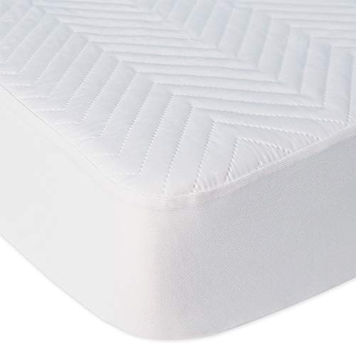 BlueSnail Waterproof Quilted Pack N Play Mattress Cover - Fits All Baby Portable Mini Cribs, Play Yards and Foldable Mattresses (White)