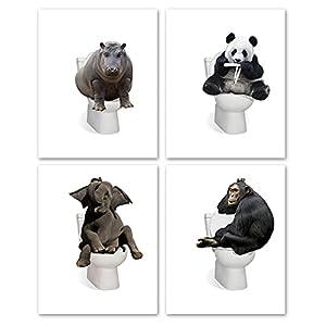 Bathroom Prints Wall Art Decor Funny Elephant Panda Animals in Bath Tub Prints Set of 4,Safari Animal in Tub Posters Bathroom Artwork Gifts(8x10 Unframed)