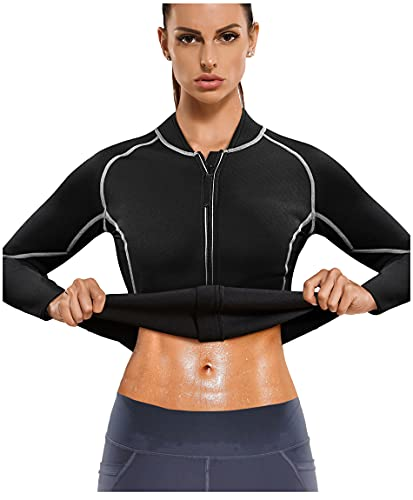 Gotoly Sauna Jacket Suit Workout Long Sleeve Training Clothes Fat Burner Top...