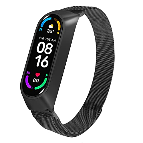 Superpow Correa para Xiaomi Mi Band 6 / Xiaomi Mi Band 5 / Amazfit Band 5, Pulsera Metal Correas Imán de Actividad Reloj Wristband Recambio Bandas de Acero Inoxidable magnético Strap (Negro)
