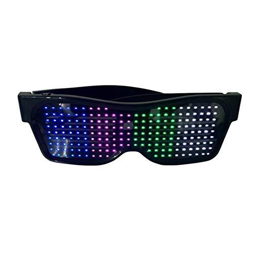 Control de aplicación móvil cómodo LED Bluetooth Gafas Festival Accesorios divertidos, increíbles gafas para Navidad, Halloween, fiesta salvaje, baile, fiestas locas, Raves