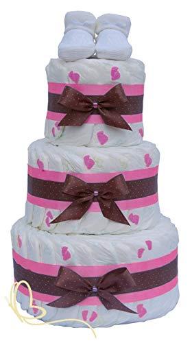 dubistda© Große Windeltorte für Mädchen mit Babybooties rosa / 59-teilig / 3-stöckig