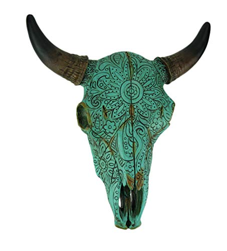 DE LEON Turquoise Floral Tribal Carved Bull Skull Hanging Statue