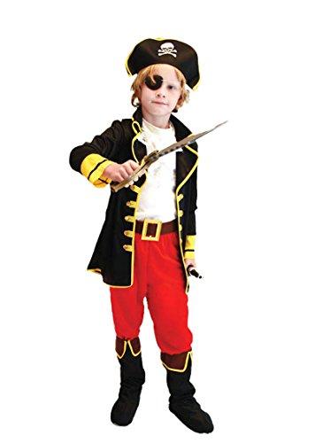Pretty Princess Disfraz de Capitán Pirata para Niños Incluye Sombrero, parche y Cinturón TS135 L 120-130 cm