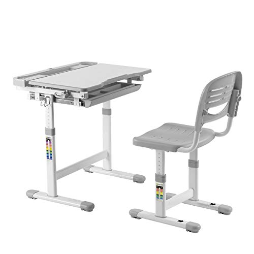 Kids Ergonomic Height Adjustable Study Tiltable Desktop & Chair Set with White Board Surface & Pulled Compartment Storage Drawer, Elfin Series, Grey