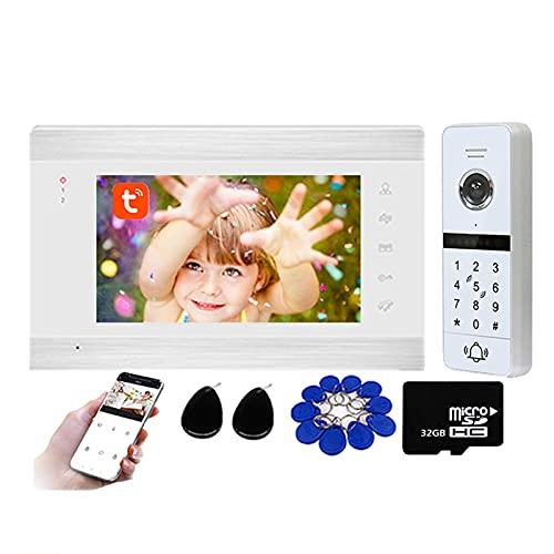 Tuya Timbre con video WiFi de 7 pulgadas, intercomunicador con videoportero para seguridad en el hogar, desbloqueo de APP con contraseña/tarjeta RFID, cámara de visión nocturna,Blanco,Kit + 32G