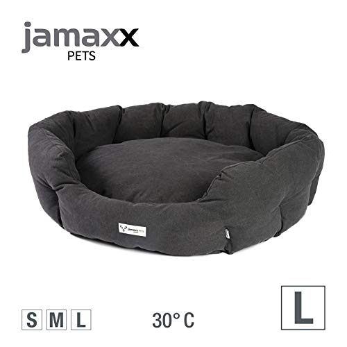 JAMAXX Ovales Hundebett mit Komfort-Füllung, Vintage Canvas Stoff, Kissen-Bezug waschbar 30°C, Hunde-Korb Körbchen Bezug Farben im modernen Vintage-Canvas Design, PDB2087 (L) 110x85