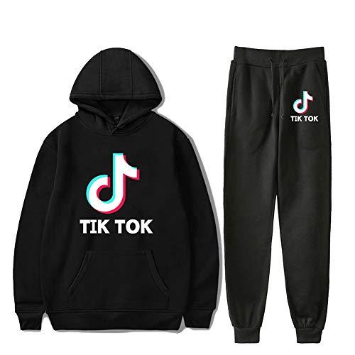 Tik Tok Hoodie Trui en broek 2 stuks Set Sweatsuit mouwen met capuchon Sport Long for vrouwen en mannen