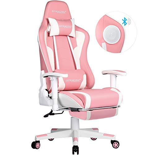 GTRACING Gaming Chair with Footrest and Bluetooth Speakers Music Video Game Chair Pink Gaming Chair...
