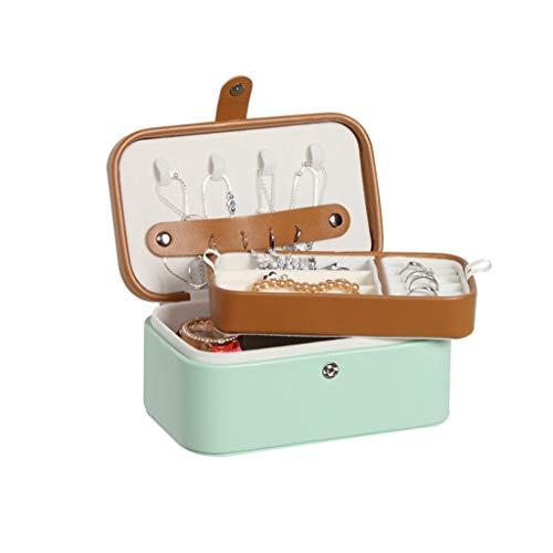 Uhrenbox Schmuck-Box for Frauen,Leder Kleine Tragbare FiJewelry Speicher Ohrringe Halskette Uhr Schmuck-Kasten-Organisator, Personalisierte Schmuckkästchen (Color : Green)