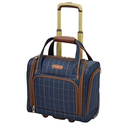 LONDON FOG Brentwood 15-Inch Under The Seat Bag, Navy Window Pane