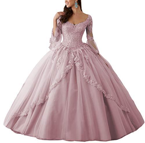 HUINI Ballkleider Lang Spitze Brautkleider Langarm Quinceanera Kleider Prinzessin V-Ausschnitt Hochzeitskleider Altrosa 46