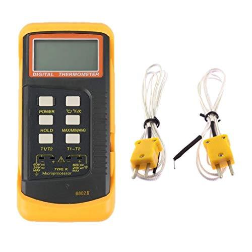 EElabper Digital-Thermometer Thermoelement Zweikanal-Thermometer mit 2 Thermoelement Sensor-Sonde Temperatur-Messgerät Tester