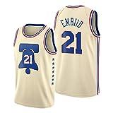 ZYJL Jóél Embiid - Camiseta de baloncesto para hombre, 2021 Nueva temporada 76ers #21 edición bonificada, camiseta de entrenamiento de camiseta de regalo (S-XXL) S
